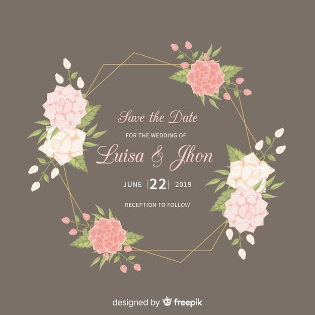 Modèle D'invitation De Mariage Cadre Floral Vecteur gratuit