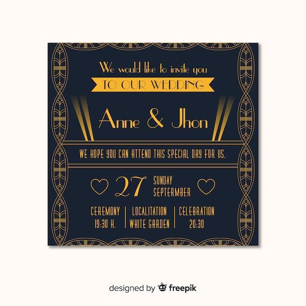Modèle d'invitation de mariage classique dans un style art déco Vecteur gratuit