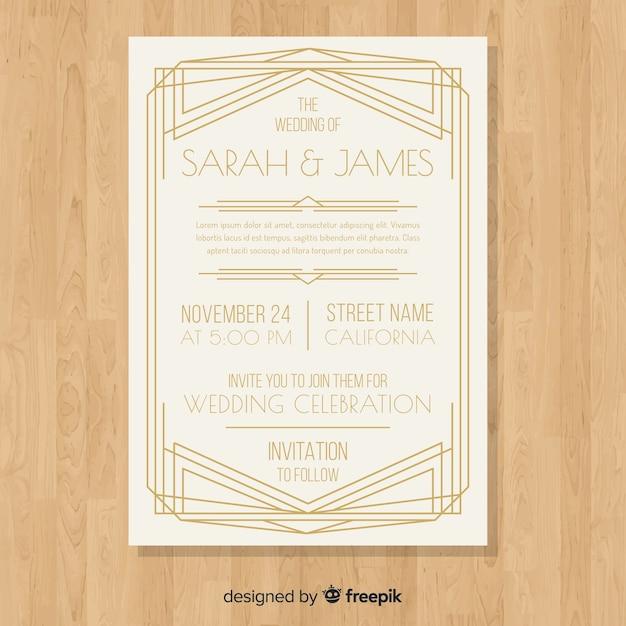 Modèle d'invitation de mariage classique élégant dans un style art déco Vecteur gratuit
