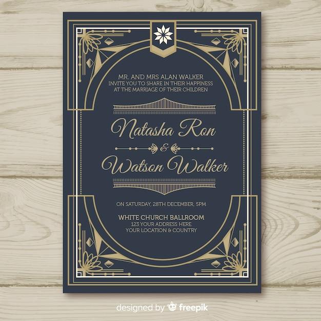 Modèle d'invitation de mariage avec concept décoratif art déco Vecteur gratuit