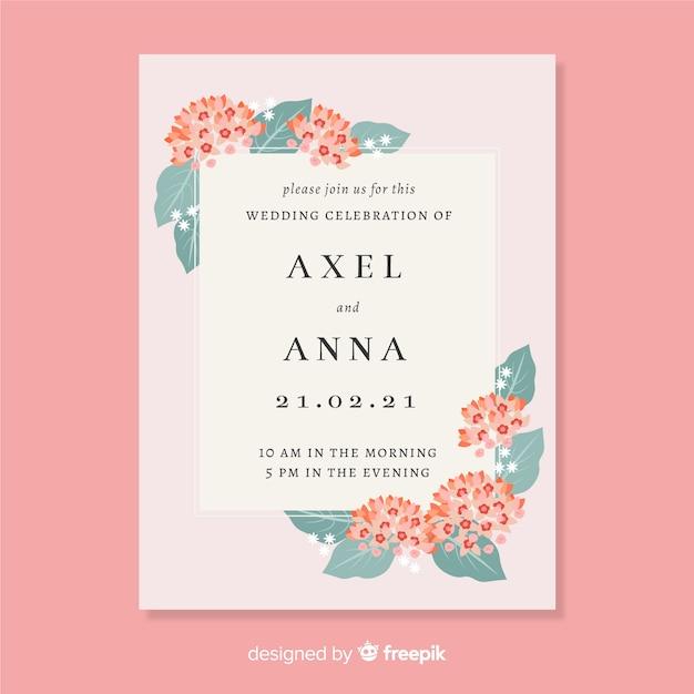 Modèle d'invitation de mariage dans un style floral Vecteur gratuit