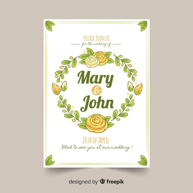 Modèle d'invitation de mariage dessiné à la main Vecteur gratuit