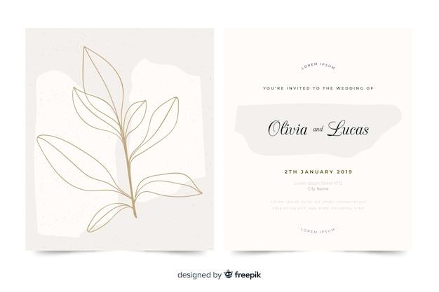 Modèle d'invitation de mariage élégant dessiné main Vecteur gratuit