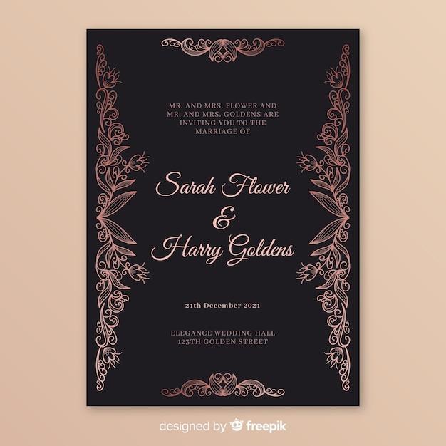 Modèle d'invitation de mariage élégant avec mandala Vecteur gratuit