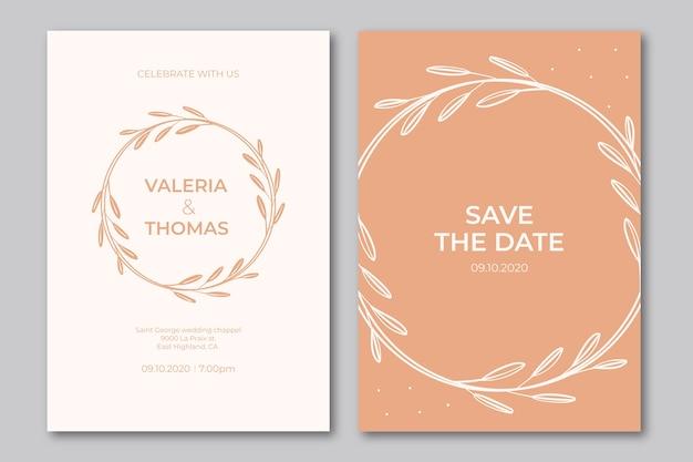 Modèle D'invitation De Mariage élégant Petites Feuilles Vecteur gratuit