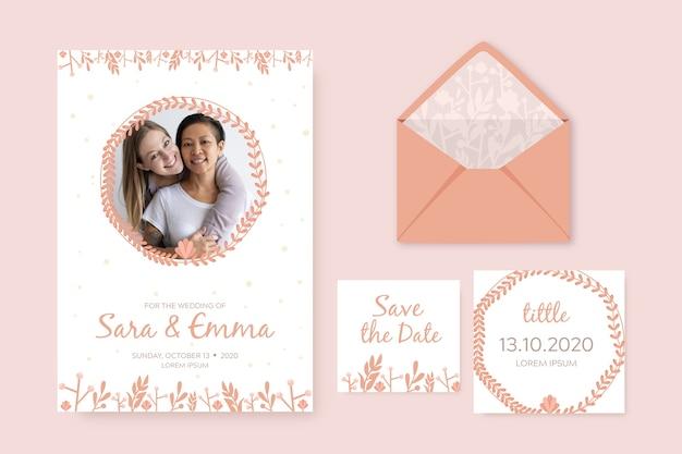 Modèle d'invitation de mariage élégant Vecteur gratuit