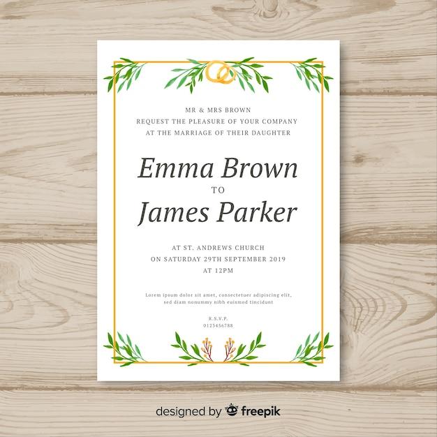 Modèle d'invitation de mariage feuilles dessinées à la main Vecteur gratuit