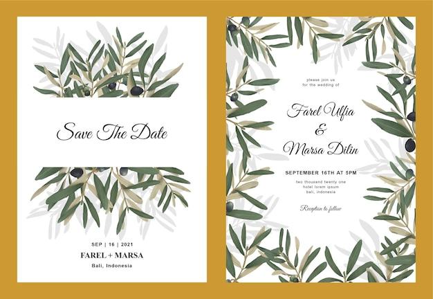 Modèle D'invitation De Mariage Avec Des Feuilles D'olivier Aquarelle Vecteur Premium