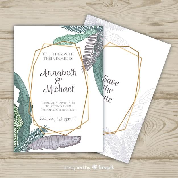 Modèle d'invitation de mariage de feuilles de palmier en couleurs pastel Vecteur gratuit
