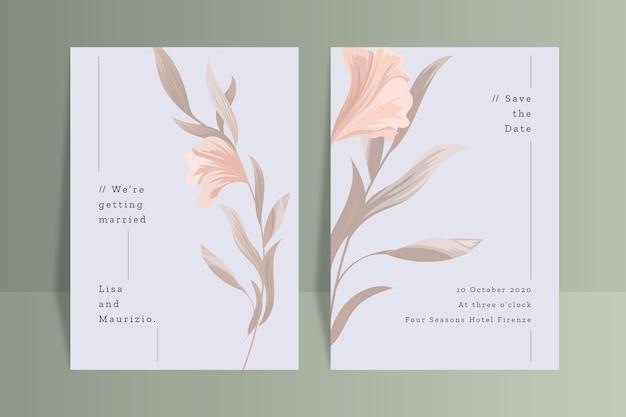 Modèle D'invitation De Mariage Avec Fleur Vecteur gratuit