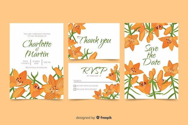 Modèle d'invitation de mariage de fleurs orange Vecteur gratuit