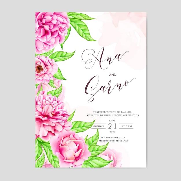 Modèle d'invitation de mariage avec des fleurs de pivoine aquarelle Vecteur Premium