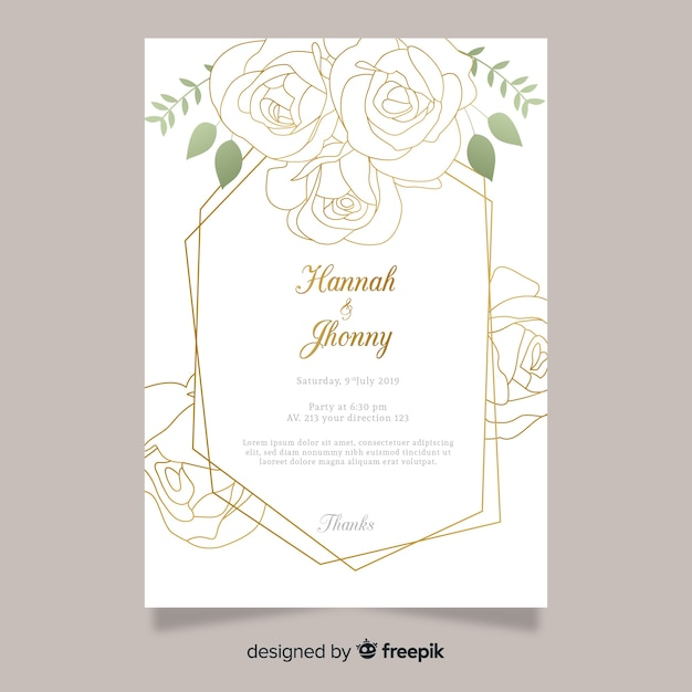 Modèle d'invitation de mariage avec des fleurs Vecteur gratuit