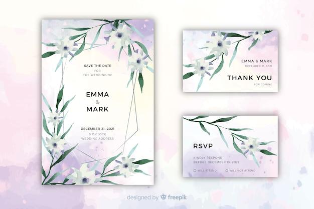 Modèle d'invitation de mariage floral aquarelle Vecteur gratuit