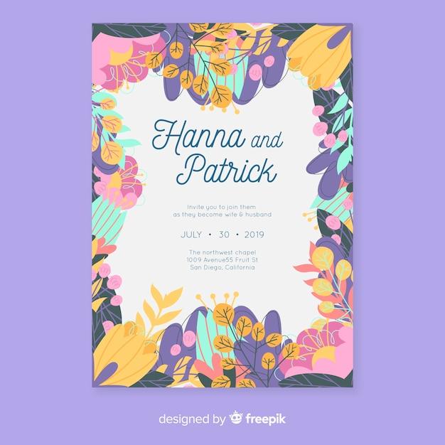 Modèle d'invitation de mariage floral coloré au design plat Vecteur gratuit