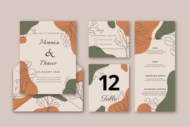 Modèle d'invitation de mariage floral dessiné à la main Vecteur gratuit