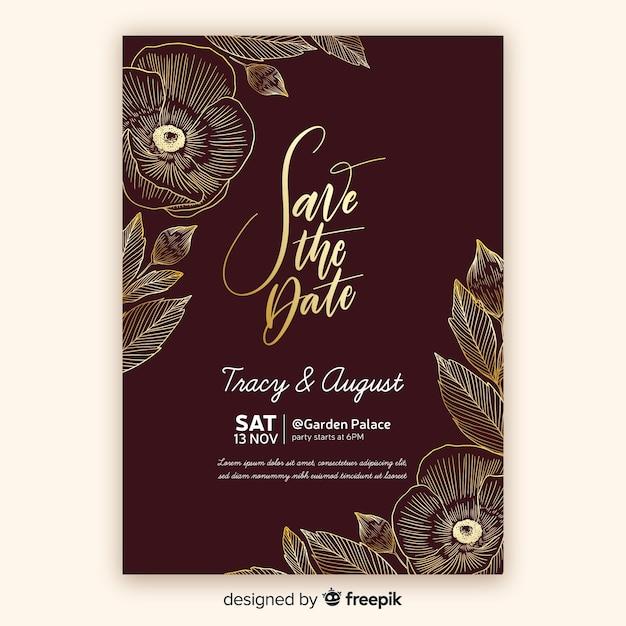 Modèle d'invitation de mariage floral doré Vecteur gratuit