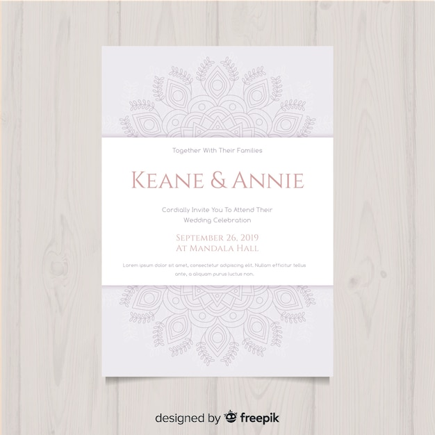 Modèle d'invitation de mariage floral élégant Vecteur gratuit