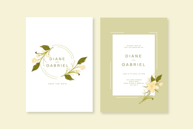 Modèle D'invitation De Mariage Floral Minimaliste élégant Vecteur gratuit