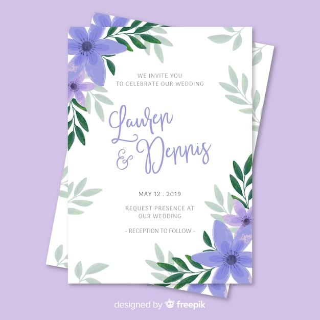 Modèle d'invitation de mariage floral peint à la main Vecteur gratuit