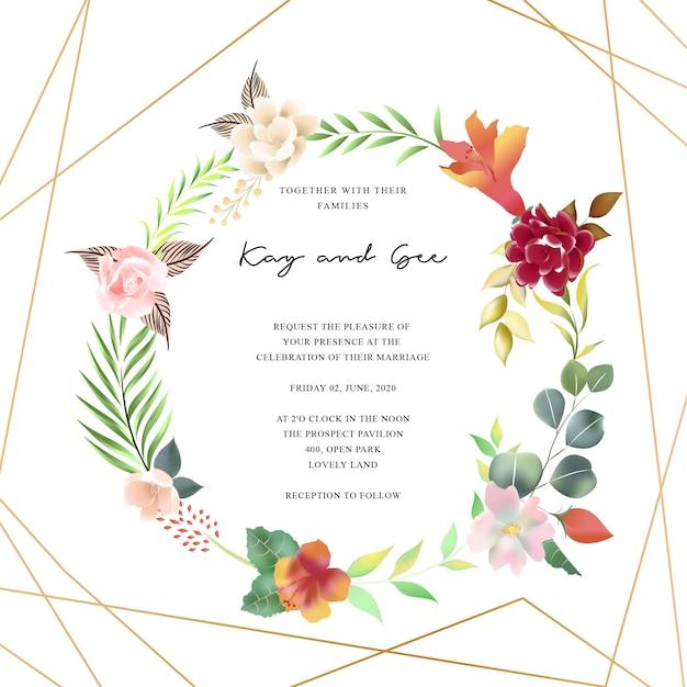 Modèle d'invitation de mariage floral serti de décoration de bouquet de fleurs Vecteur Premium