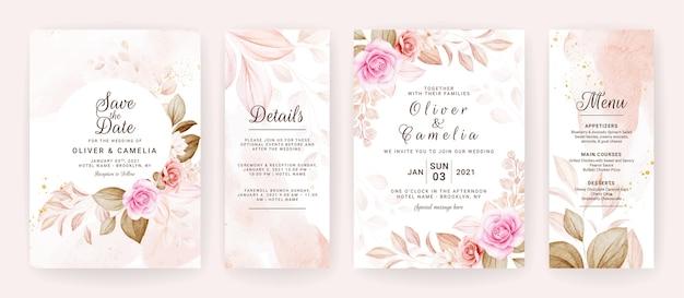 Modèle D'invitation De Mariage Floral Serti De Décoration De Fleurs Et De Feuilles De Roses Marron Et Pêche. Vecteur Premium