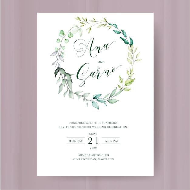 Modèle d'invitation de mariage floral Vecteur Premium