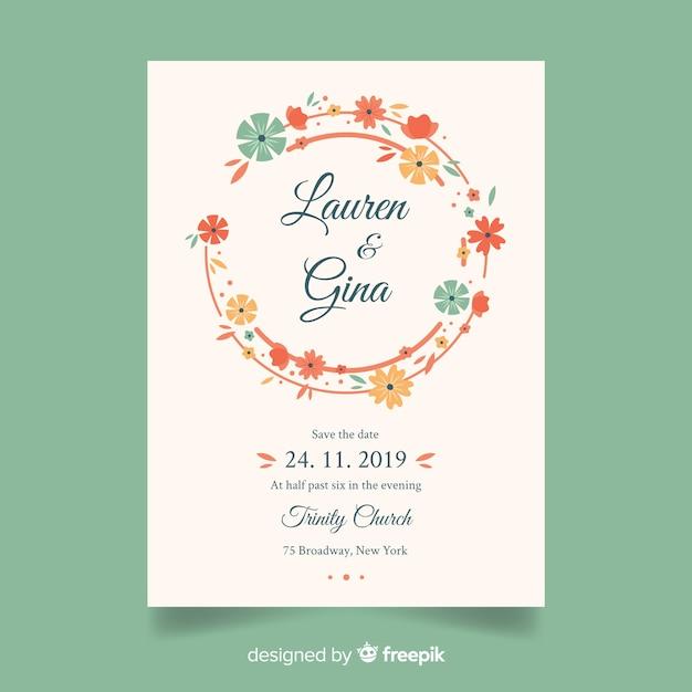 Modèle d'invitation de mariage floral Vecteur gratuit
