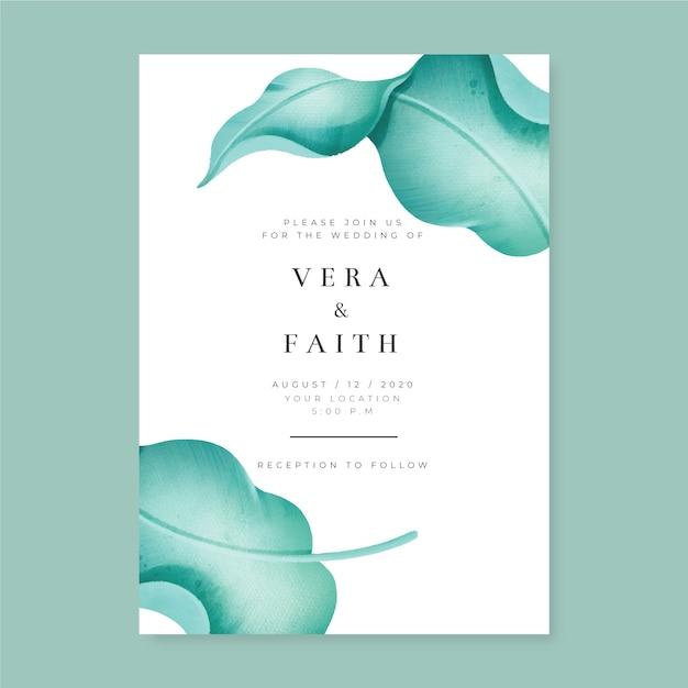 Modèle D'invitation De Mariage Avec Une Grande Fleur Vecteur gratuit