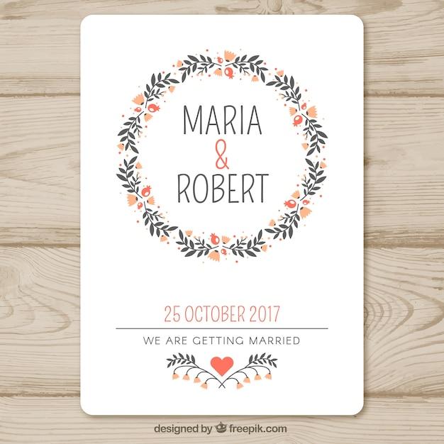 Modèle D'invitation De Mariage Avec Guirlande Florale Vecteur gratuit