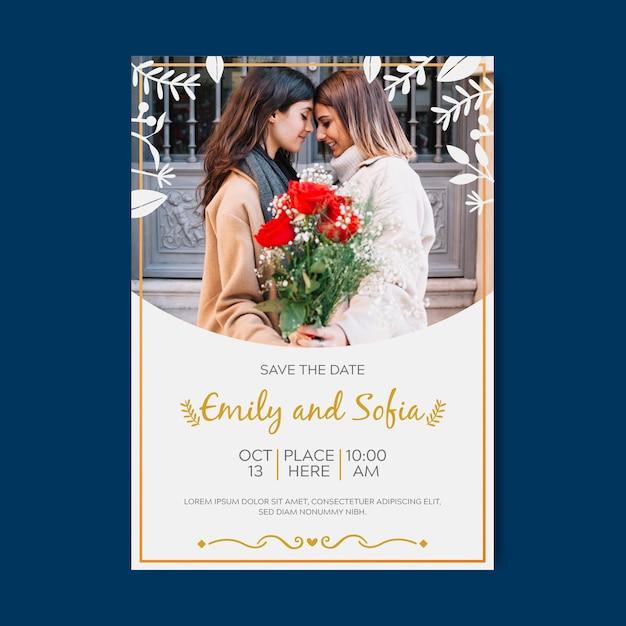 Modèle d'invitation de mariage avec image Vecteur gratuit