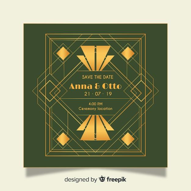 Modele D Invitation De Mariage De Luxe En Design Art Deco