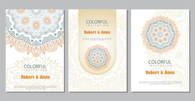 Modèle d'invitation de mariage mandala coloré. Vecteur Premium