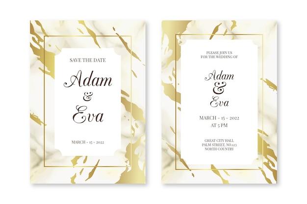 Modèle D'invitation De Mariage En Marbre élégant Vecteur gratuit