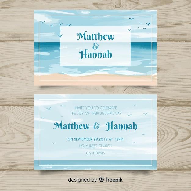 Modèle d'invitation de mariage marine Vecteur gratuit