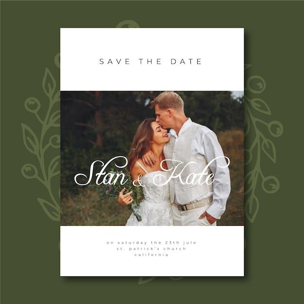Modèle d'invitation de mariage mignon avec photo Vecteur gratuit