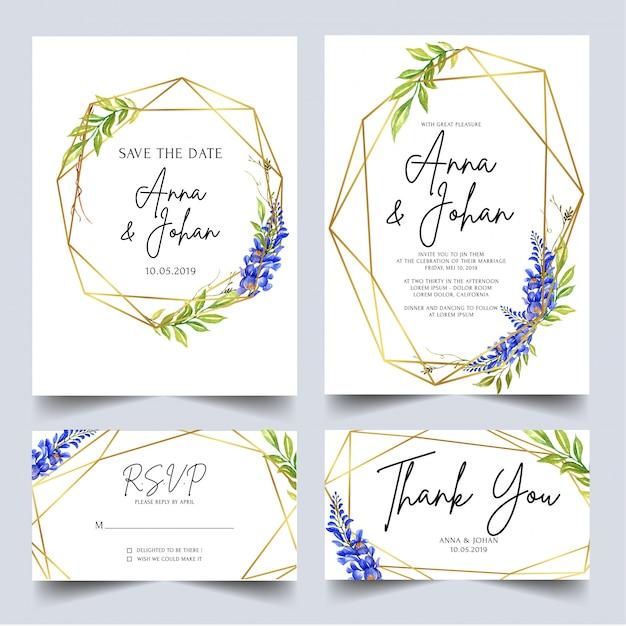 Modèle invitation de mariage mis glycine bleue Vecteur Premium