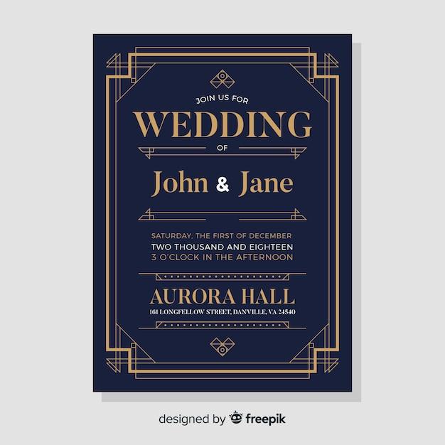 Modèle d'invitation de mariage noir élégant dans un style art déco Vecteur gratuit