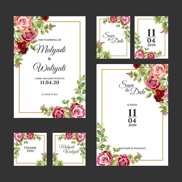 Modèle d'invitation de mariage d'ornement floral décoratif Vecteur Premium