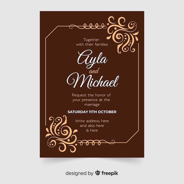 Modèle d'invitation de mariage ornemental rétro Vecteur gratuit