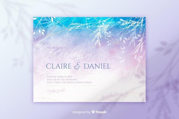Modèle d'invitation de mariage peint à la main abstraite Vecteur gratuit
