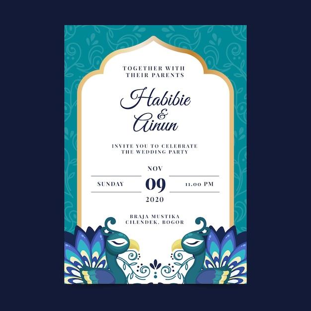 Modèle D'invitation De Mariage Avec Des Plumes De Paon Vecteur gratuit