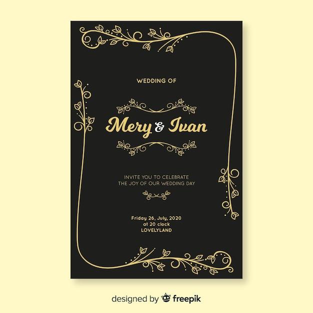 Modèle d'invitation de mariage rétro noir Vecteur gratuit