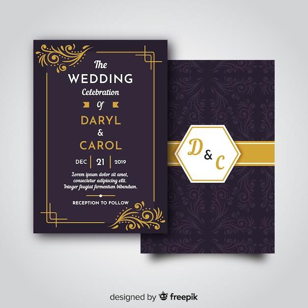 Modèle d'invitation de mariage rétro Vecteur gratuit