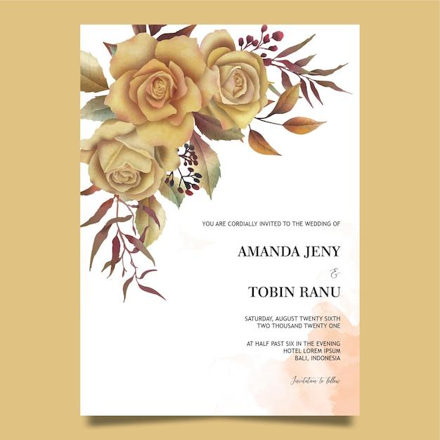 Modèle D'invitation De Mariage Avec Des Roses Aquarelles Vecteur Premium