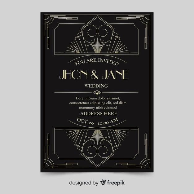 Modèle d'invitation de mariage sombre au design art déco Vecteur gratuit