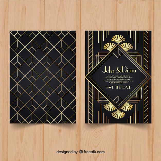 Modèle d'invitation de mariage de style art déco Vecteur gratuit
