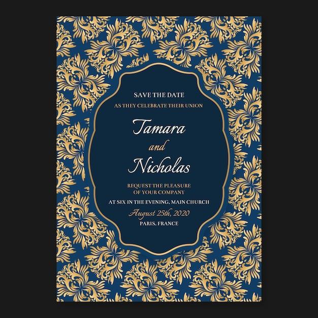 Modèle d'invitation de mariage avec un style élégant damassé Vecteur gratuit