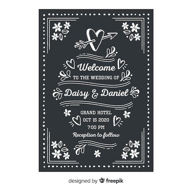 Modèle d'invitation de mariage sur tableau noir Vecteur gratuit