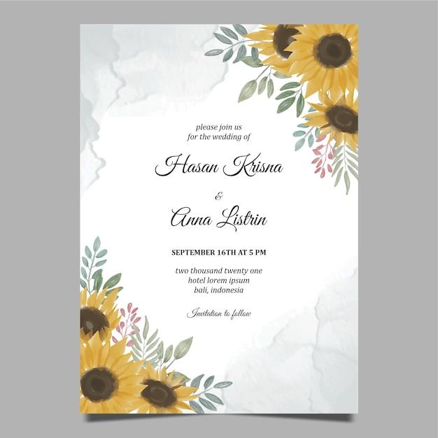 Modèle D'invitation De Mariage Tournesol Dessiné à La Main Vecteur Premium